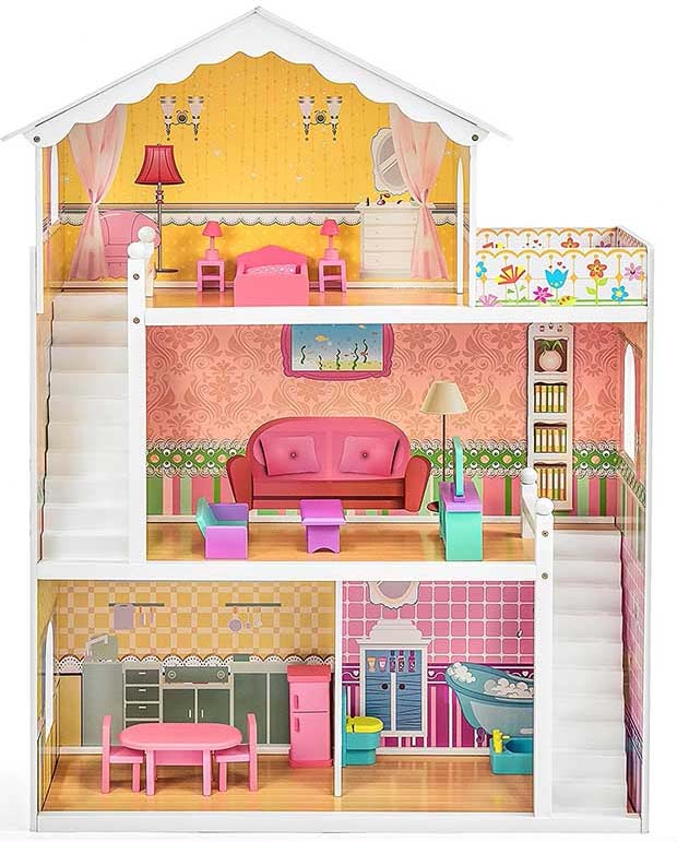 Best Choice Products Wooden Dollhouse with Furniture